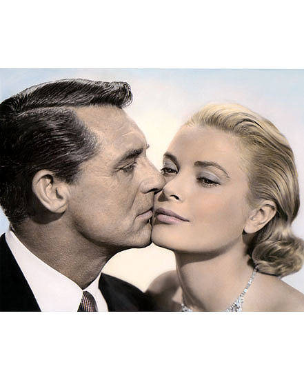 """RANDOLPH SCOTT /& CARY GRANT HOLLYWOOD ACTORS 8x10/"""" HAND COLOR TINTED PHOTOGRAPH"""